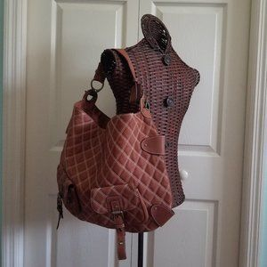 HYPE Brown Leather Quilted Large  Tote Bag